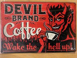 Kyltti Devil brand coffee
